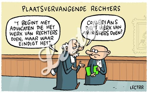 cartoon plaatsvervangende rechters